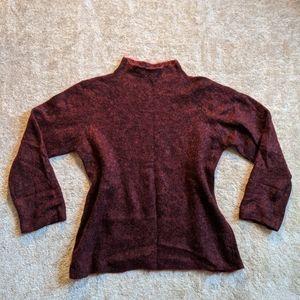 Eileen Fisher burgundy funnel neck mohair sweater
